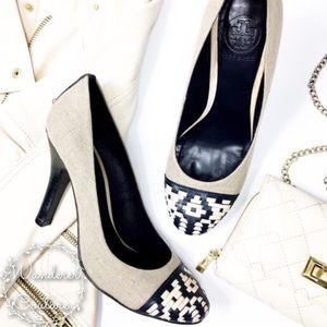 Tory Burch Sylvia Linen Woven Round Toe Pumps